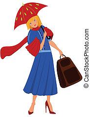 女, 青いコート, 漫画, 赤い洋傘
