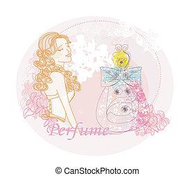 女, 香り, 抽象的, 香水のビン, 花