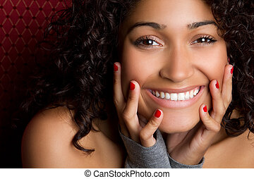 女, 黒, 笑い
