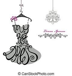 女, chandelier., テンプレート, dress., 最も良く, silhouette., 言葉, 服