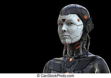 女, cyborg, -realistic, 背景, -, 女性, レンダリング, アンドロイド, 3d, ロボット, ヒューマノイド, 技術