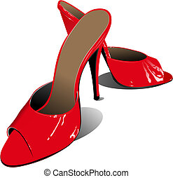 女, shoes., イラスト, ベクトル, ファッション, 赤