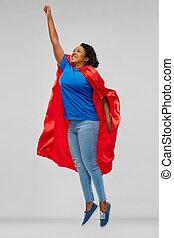 女, superhero, 飛行, の上, アメリカ人, アフリカ, 岬