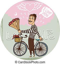 好色的である, frenchman, ばら, 赤い自転車