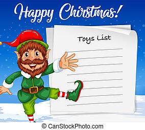 妖精, リスト, クリスマス, おもちゃ