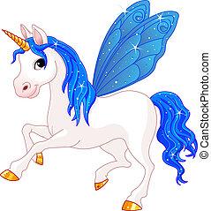 妖精, 尾, 藍色, 馬