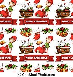 妖精, seamless, 贈り物, クリスマス