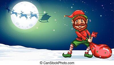 妖精, winternight, クリスマス, 背景