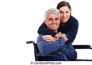 妻, 抱き合う, ハンディキャップを付けられる, 支える, 夫, 情事