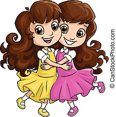 姉妹, 女の子, 2, 抱き合う, 幸せ