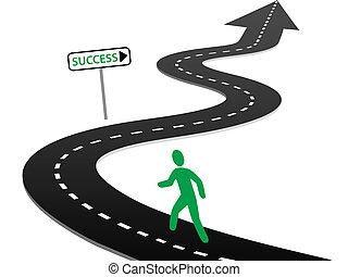 始めなさい, 成功, カーブ, 旅行, イニシアティブ, ハイウェー
