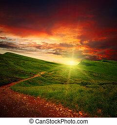 威厳がある, 道, 日没, 牧草地, によって