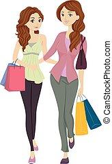 娘, 買い物, お母さん