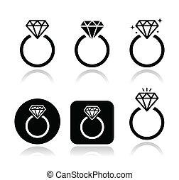 婚約指輪, ベクトル, アイコン, ダイヤモンド