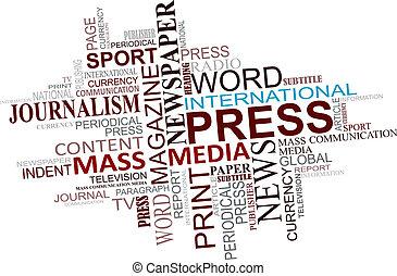 媒体, ジャーナリズム, 雲, タグ