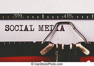 媒体, テキスト, タイプライター, 古い, 社会
