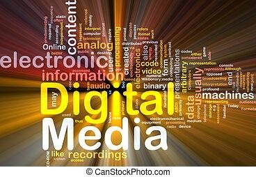 媒体, 白熱, 概念, 背景, デジタル