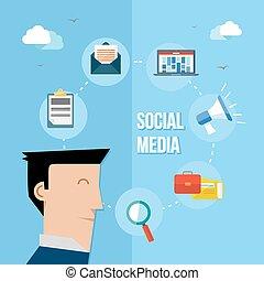 媒体, 社会, ネットワーク, イラスト, 平ら