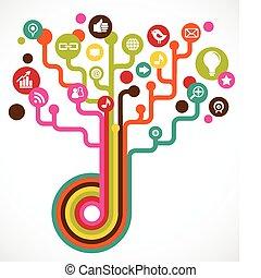 媒体, 社会, 木, ネットワーク, アイコン