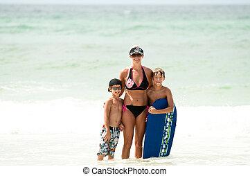 子供, お母さん, 海洋