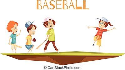 子供, イラスト, 漫画, ベクトル, 野球, 遊び