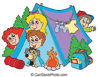 子供, グループ, キャンプ