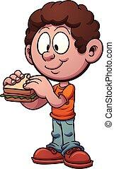 子供, サンドイッチ, 食べること