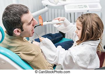子供, シール, 成人, 歯