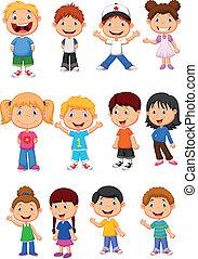 子供, セット, コレクション, 漫画