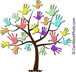 子供, プリント, 合併した, 木, 手