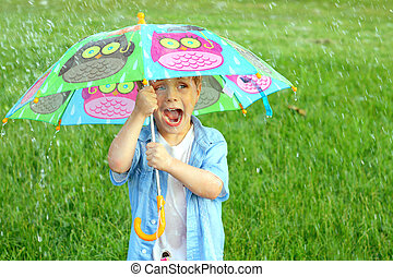 子供, 傘, 嵐, 雨, 捕えられた