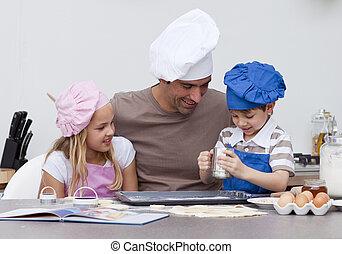 子供, 台所, 父, べーキング