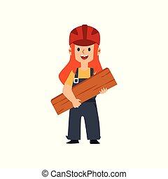 子供, 女性, 保有物, 安全, 板, 建築者, ヘルメット, ユニフォーム, wood., かわいい