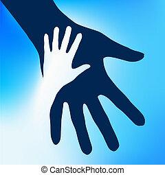 子供, 手, 助力
