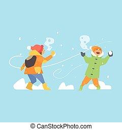 子供, 投げる, イラスト, 朗らかである, ベクトル, snowballs.