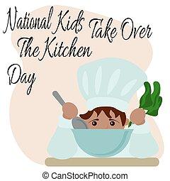 子供, 旗, 日, ∥あるいは∥, シェフ, 上に, 子供, 台所, 帽子, 食物, ポスター, 取得, 国民, 準備