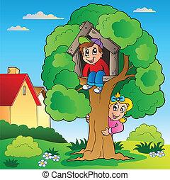 子供, 木, 庭, 2