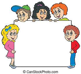 子供, 様々, 板, 保有物