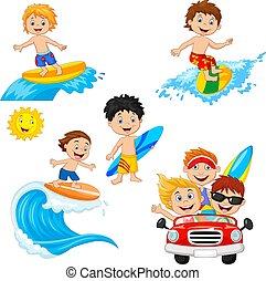 子供, 浜, 遊び, セット, 波 板