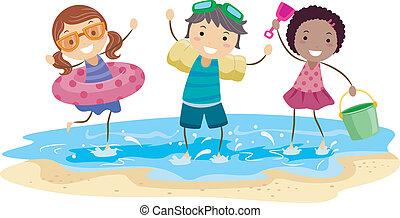 子供, 浜, 遊び