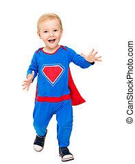 子供, 男の子, 英雄, 衣装, 背景, 子供, 赤ん坊, 白, 人, 極度, 幸せ