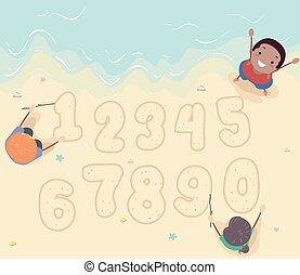 子供, 砂, stickman, イラスト, 浜, 数