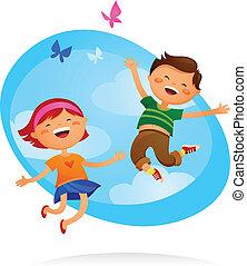 子供, 跳躍, 幸せ