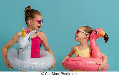 子供, 身に着けていること, 水着, 幸せ