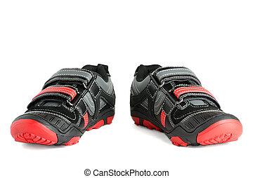 子供, 靴, 隔離された, スポーツ, 背景, 白