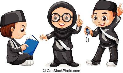 子供, 黒, 3, muslim, 衣装