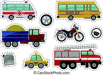 子供, illustration., アイコン, 自動車, ベクトル, おもちゃ, 漫画