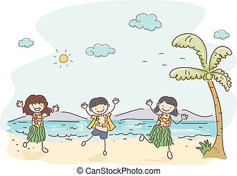 子供, stickman, ハワイ