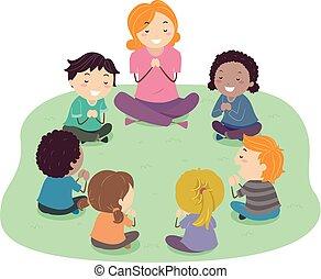 子供, stickman, 教師, イラスト, 祈とう