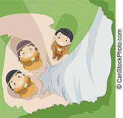 子供, stickman, 精神, 祈る, 木, indian